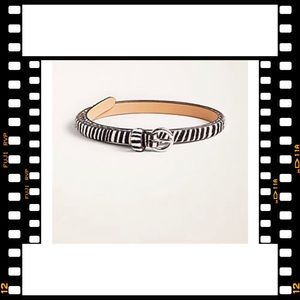 ANN TAYLOR Zebra Print Haircalf Skinny Belt